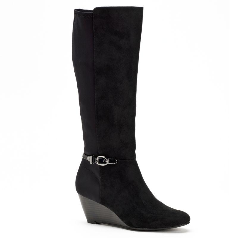 Dana Buchman Black Women's Tall Shaft Wedge Boots