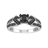 Black Diamond Chevron Engagement Ring in Sterling Silver (1 ctT.W.)