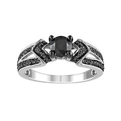 Stella Grace Black Diamond Chevron Engagement Ring in Sterling Silver (1 ct. T.W.)
