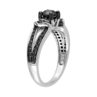 Stella Grace Black Diamond Chevron Engagement Ring in Sterling Silver (1 ct. T.W.)