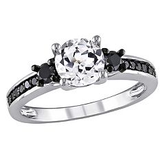 Lab-Created White Sapphire & Black Diamond Engagement Ring in Sterling Silver (1/3 ctT.W.)