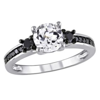 Stella Grace Lab-Created White Sapphire and Black Diamond Engagement Ring in Sterling Silver (1/3 ct. T.W.)