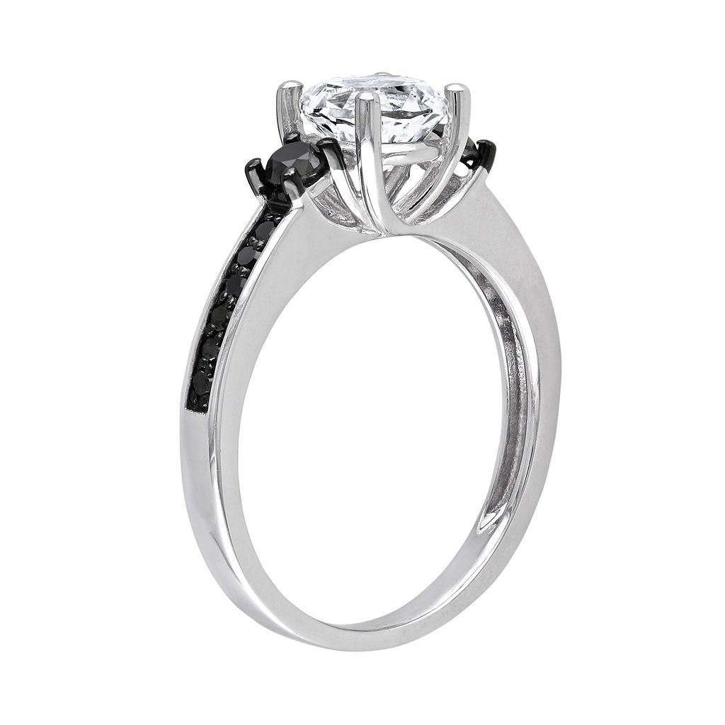 Lab-Created White Sapphire and Black Diamond Engagement Ring in Sterling Silver (1/3 ct. T.W.)