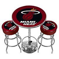 Miami Heat Ultimate Gameroom Combo 3 pc Pub Table & Stool Set