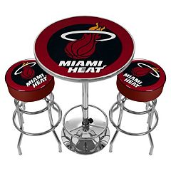 Miami Heat Ultimate Gameroom Combo 3 pc Pub Table & Stool Set