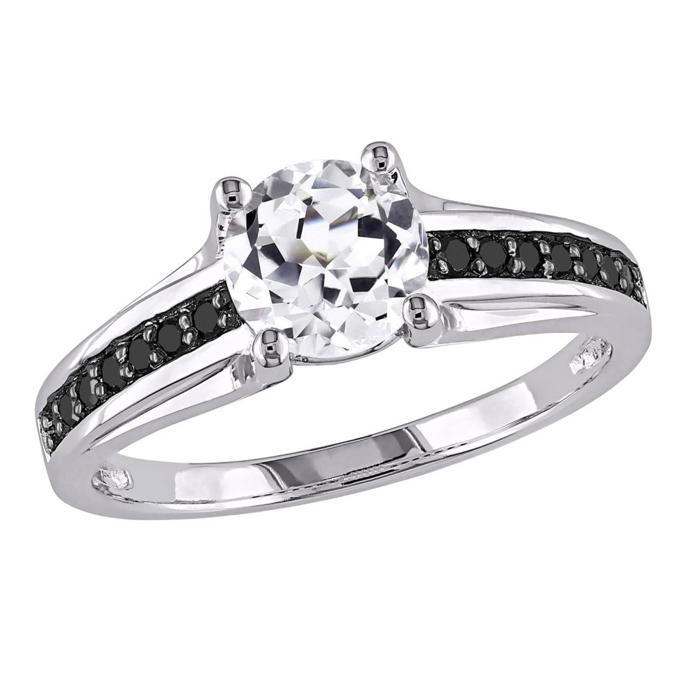 Lab Created White Sapphire and Black Diamond Engagement Ring in
