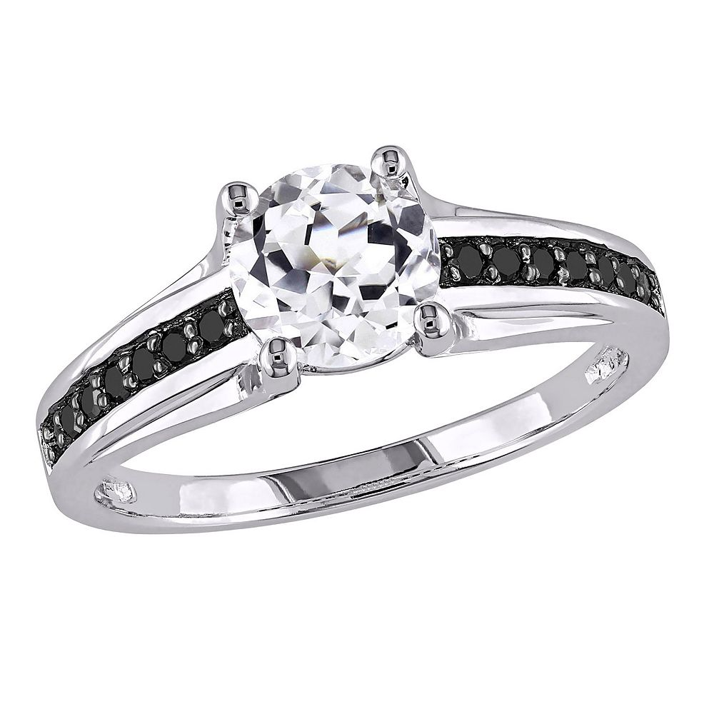 Labcreated White Sapphire & Black Diamond Engagement Ring In Sterling  Silver (14