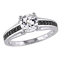 Lab-Created White Sapphire & Black Diamond Engagement Ring in Sterling Silver (.14 ctT.W.)