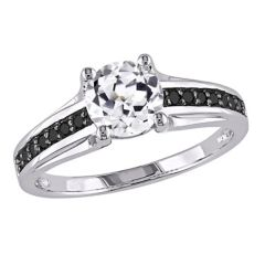 Lab-Created White Sapphire & Black Diamond Engagement Ring in Sterling  Silver (.14