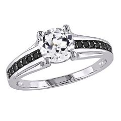Stella Grace Lab-Created White Sapphire and Black Diamond Engagement Ring in Sterling Silver (.14 ct. T.W.)