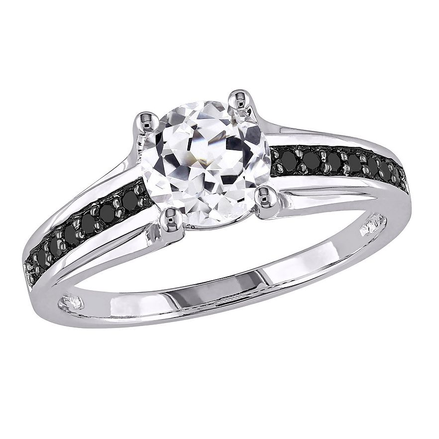 black diamond engagement ring in sterling silver 14 view larger - Wedding Rings With Black Diamonds