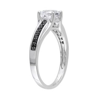 Lab-Created White Sapphire and Black Diamond Engagement Ring in Sterling Silver (.14 ct. T.W.)