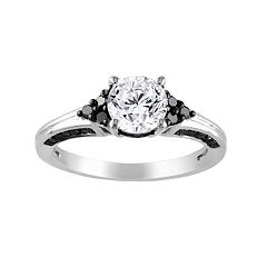 Lab-Created White Sapphire & Black Diamond Cluster Engagement Ring in Sterling Silver (3/8 ctT.W.)