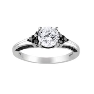 Stella Grace Lab-Created White Sapphire and Black Diamond Cluster Engagement Ring in Sterling Silver (3/8 ct. T.W.)