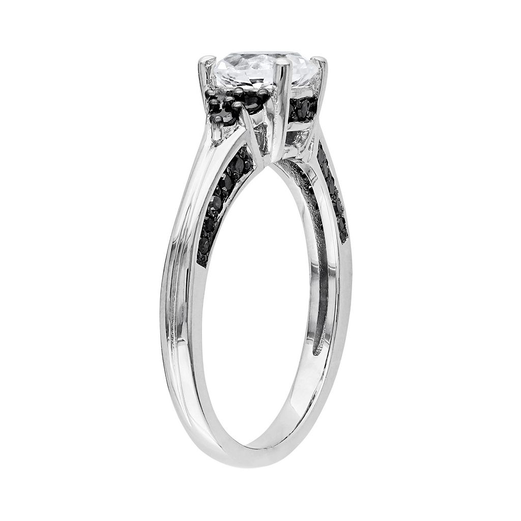 Lab-Created White Sapphire and Black Diamond Cluster Engagement Ring in Sterling Silver (3/8 ct. T.W.)