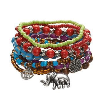 Mudd® Bead, & Disc, Eye & Elephant Charm Stretch Bracelet Set