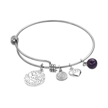 love this life Stainless Steel & Silver-Plated Amethyst