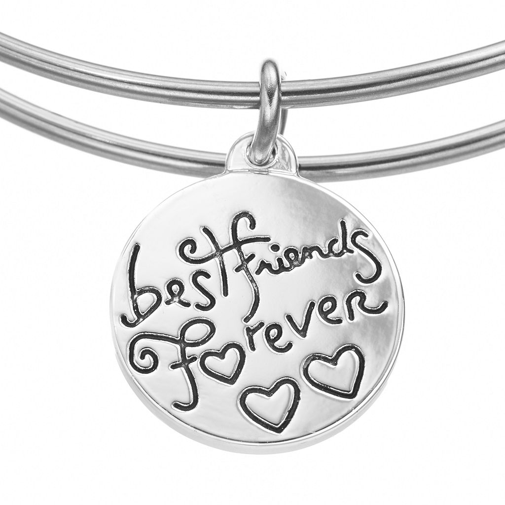 love this life Stainless Steel and Silver-Plated Amethyst ''Sisters'' and Heart Charm Bangle Bracelet