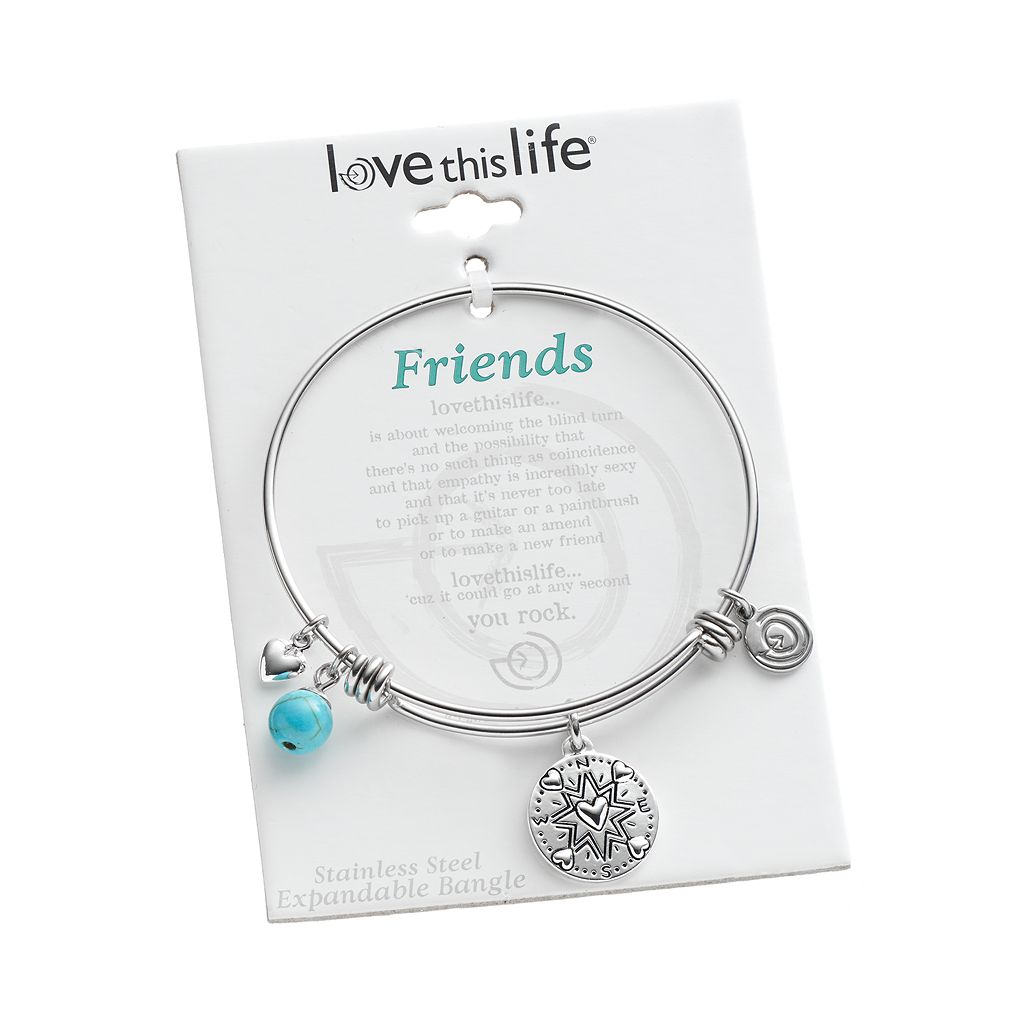 love this life Turquoise Stainless Steel and Silver-Plated ''Friends'' Compass Charm Bangle Bracelet