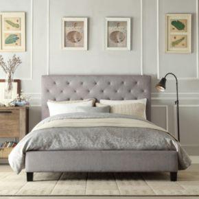 HomeVance Darla Tufted Linen Platform Bed - Full