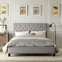 HomeVance Darla Tufted Linen Platform Bed - Queen