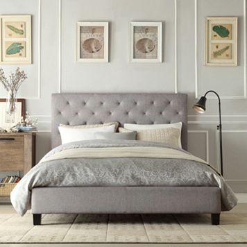 HomeVance Darla Tufted Linen Platform Bed - Queen