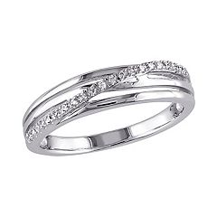 Sterling Silver Diamond Accent Crisscross Ring