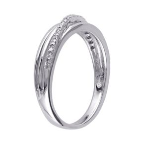 Stella Grace Sterling Silver Diamond Accent Crisscross Ring