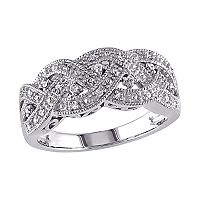 Sterling Silver 1/8 ctT.W. Diamond Braided Ring