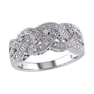 Stella Grace Sterling Silver 1/8-ct. T.W. Diamond Braided Ring