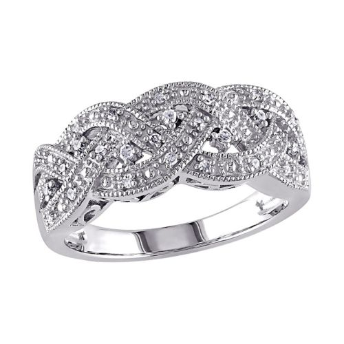 Sterling Silver 1/8-ct. T.W. Diamond Braided Ring