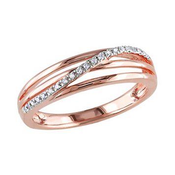 18k Rose Gold Over Silver Diamond Accent Crisscross Ring
