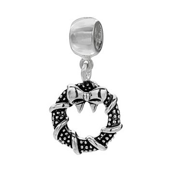 Individuality Beads Sterling Silver Christmas Wreath Charm