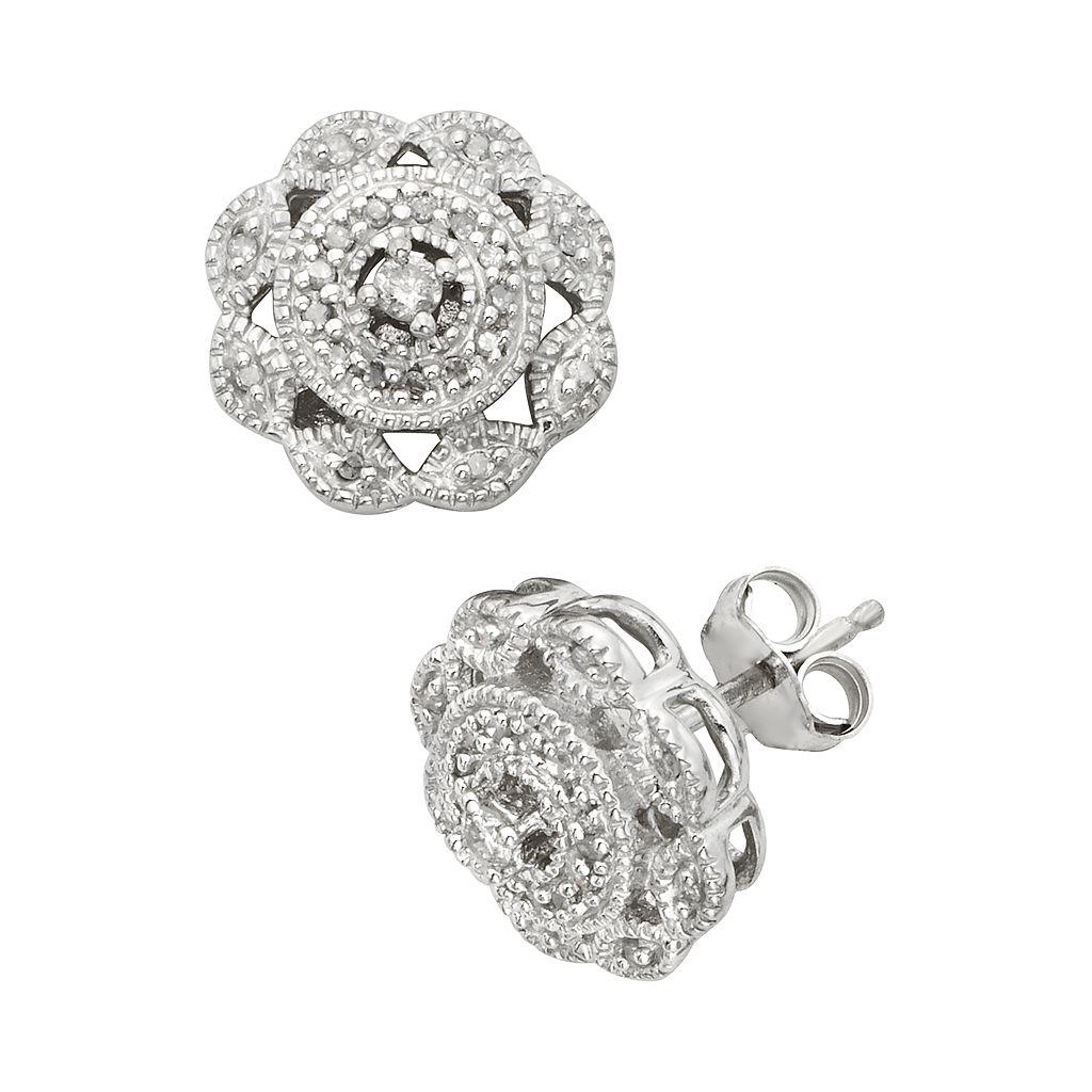 Sterling Silver 1/4-ct. T.W. Diamond Flower Stud Earrings
