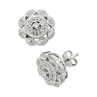Sterling Silver 1/4 ctT.W. Diamond Flower Stud Earrings