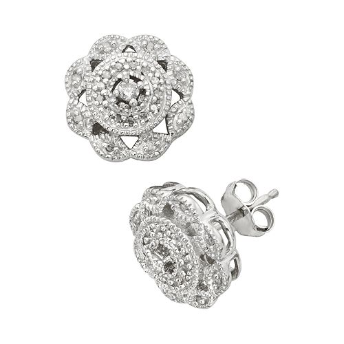 Sterling Silver 1/4-ct. T.W.  Diamond Flower Stud Earrings