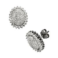Sterling Silver 1/2 ctT.W. Diamond Flower Stud Earrings