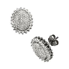 Sterling Silver 1/2-ct. T.W.  Diamond Flower Stud Earrings