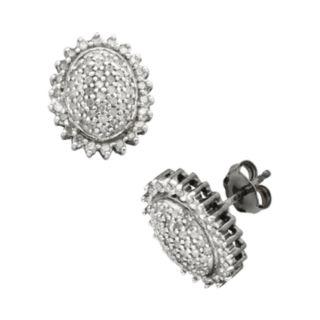 Sterling Silver 1/2-ct. T.W.  Diamond Flower Stud Earrings