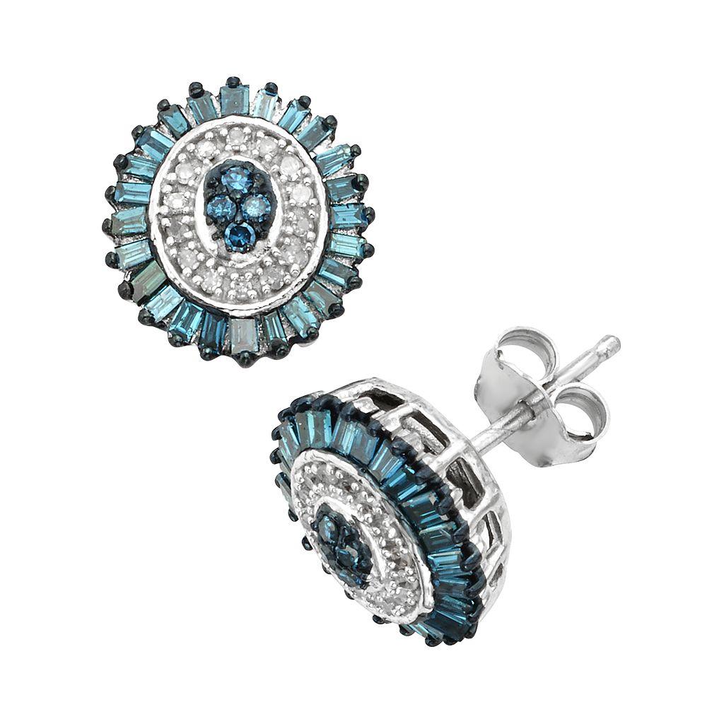 Sterling Silver 1/2-ct. T.W. Blue & White Diamond Halo Stud Earrings