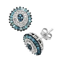 Sterling Silver 1/2 ctT.W. Blue & White Diamond Halo Stud Earrings