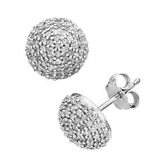 Sterling Silver 1/2 ctT.W.  Diamond Button Stud Earrings