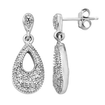 Sterling Silver 1/4-ct. T.W. Diamond Teardrop Earrings