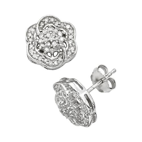 Sterling Silver 1/7-ct. T.W.  Diamond Flower Stud Earrings