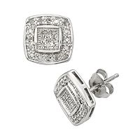 Sterling Silver 1/4 ctT.W. Diamond Halo Stud Earrings