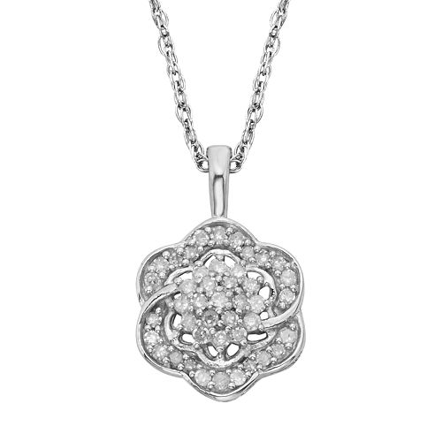 Sterling Silver 1/4-ct. T.W.  Diamond Flower Pendant