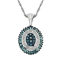 Sterling Silver 1/2-ct. T.W. Blue & White Diamond Halo Pendant