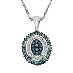 Sterling Silver 1/2 ctT.W. Blue & White Diamond Halo Pendant