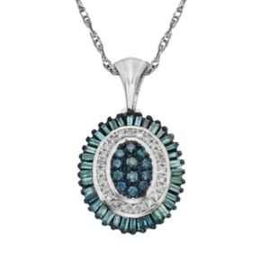 Sterling Silver 1/2-ct. T.W. Blue and White Diamond Halo Pendant