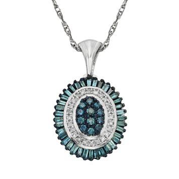 Sterling Silver 1/2-ct. T.W. Blue & White Diamond Halo Pendant